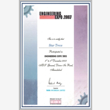 Engg. Expo 2003 certificate(Ahmedabad)-star trace
